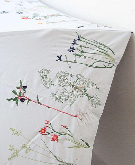muuc ムーク ボタニカル刺繍の雨天兼用日傘 (折りたたみ傘)