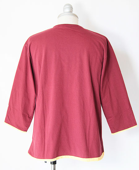 COLIMBO コリンボ TRAPPOLA REVERSIBLE 3QTR TEE (BURGUNDY × YELLOW)