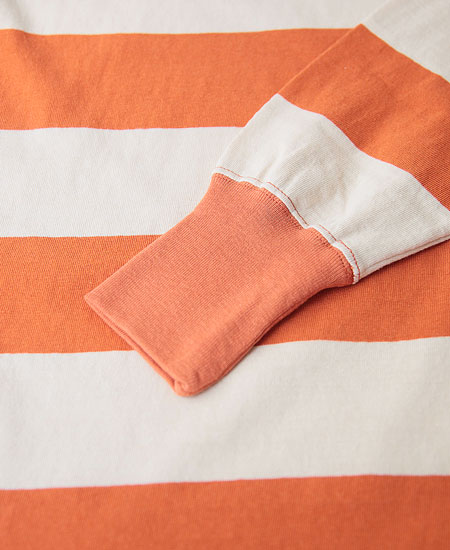 "FREEWHEELERS フリーホイーラーズ "" HORIZONTAL STRIPED "" SET-IN L/S T-SHIRT (SUNRIZE ORANGE × STRAW CREAM)"