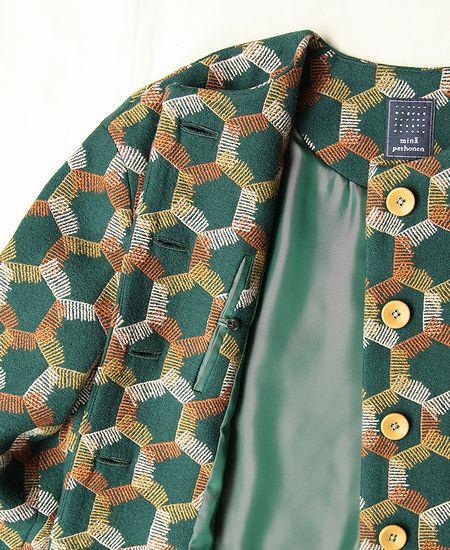 【SALE】 mina perhonen ミナペルホネン snowflake スノーフレーク ノーカラー ジャケット
