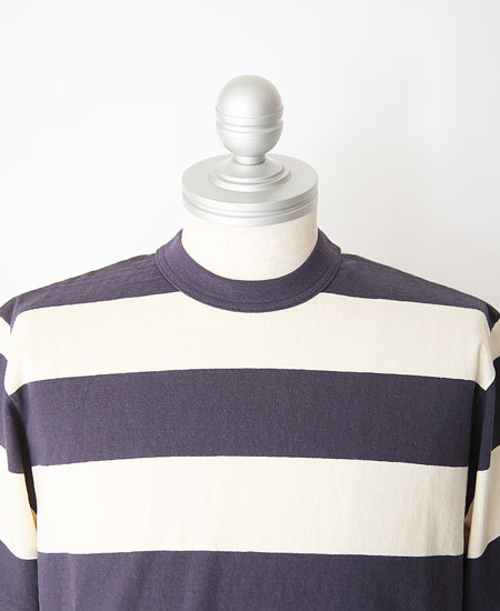 "FREEWHEELERS フリーホイーラーズ "" HORIZONTAL STRIPED "" SET-IN S/S T-SHIRTS (OLD NAVY × DRY CREAM)"