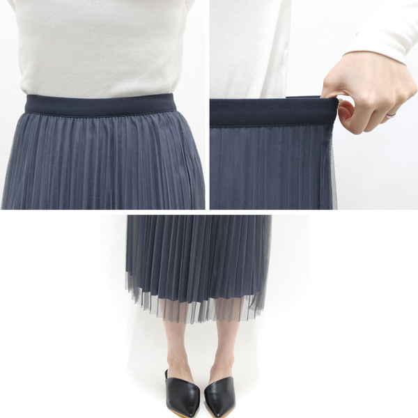 リバーシブルプリーツロングスカート
