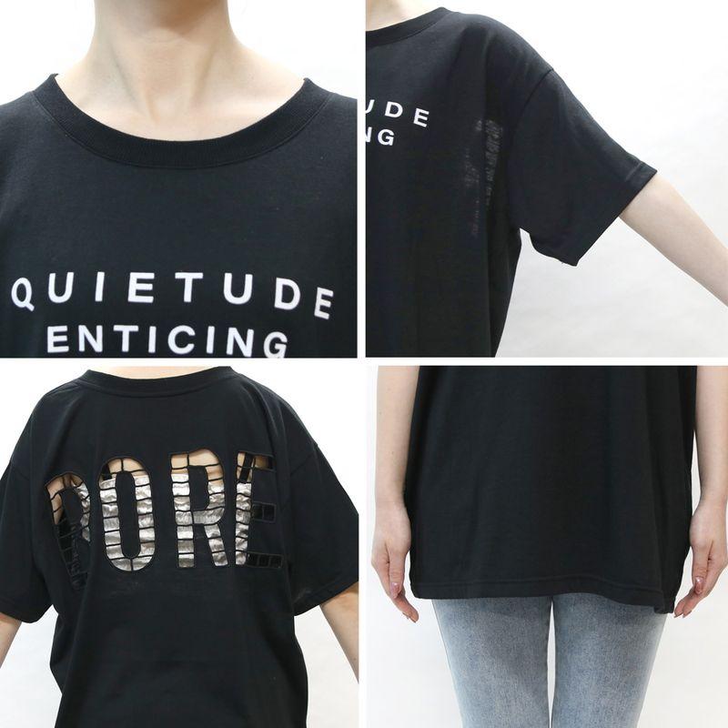 クルーネックくり抜きロゴTシャツ