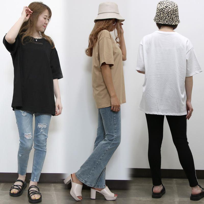 [SALE]シンプルカラーロゴTシャツチュニック