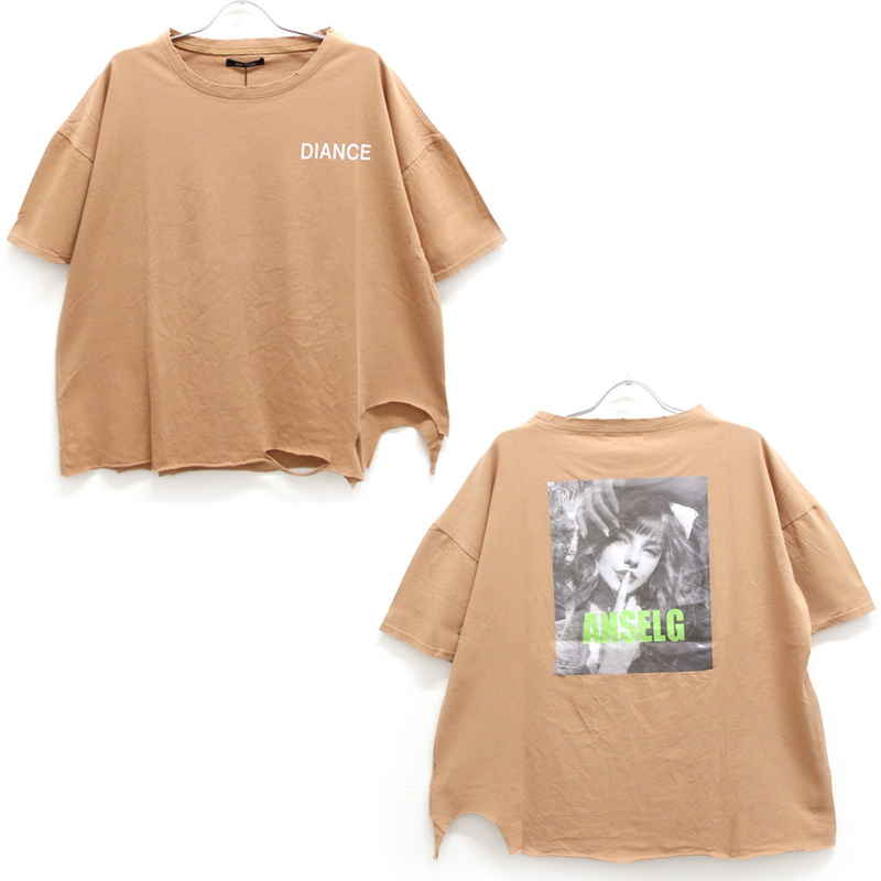 [SALE]バックプリントダメージTシャツ