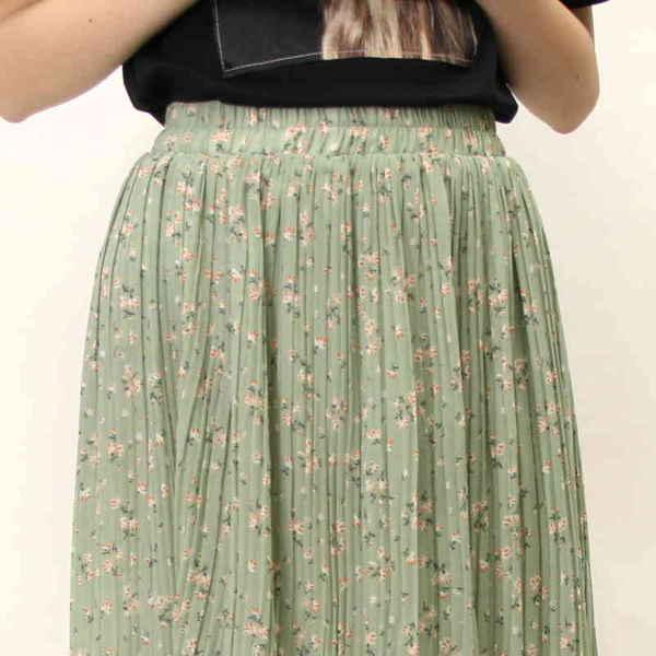 [SALE]★WEB限定★シフォン小花柄プリーツロングスカート