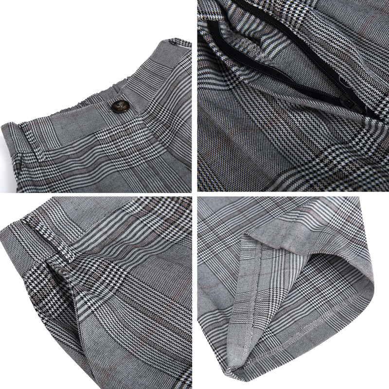 [SALE]チェック柄テーラードジャケットワイドパンツセットアップ