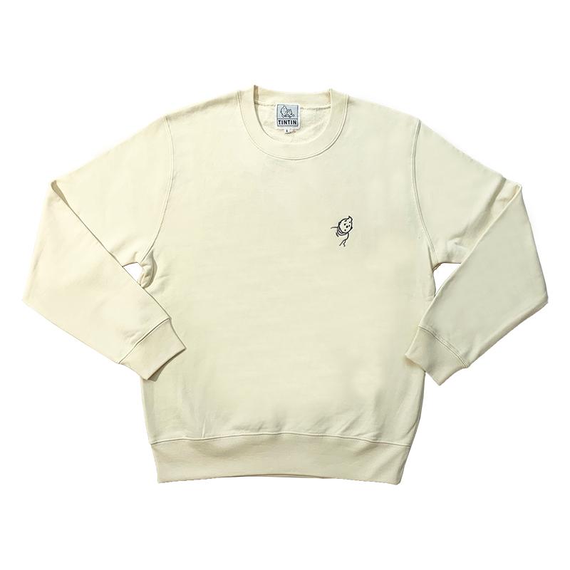 スウェットシャツ/T刺繍/クリーム/S-XL