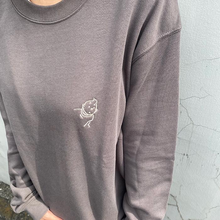 スウェットシャツ/T刺繍/チャコール/S-XL