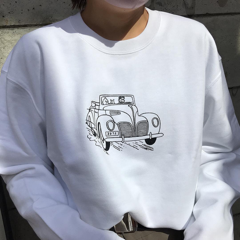 スウェットシャツ/CAR/ホワイト/S-XL