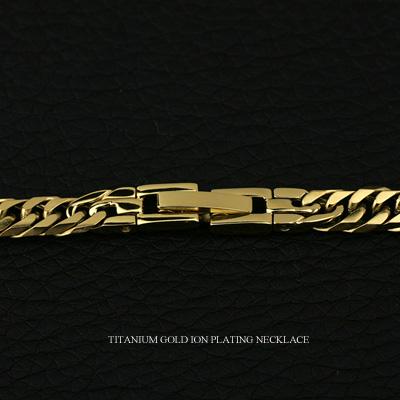 (即納可)チタン ネックレス ダブル喜平 6面カット 50cm 4.5mm (ゴールド イオン プレーティング加工) キヘイチェーン 50cm 【送料無料】 キヘイチェーン 喜平チェーン チタンチェーン メンズチェーン チタンチェーン 金属アレルギー対応