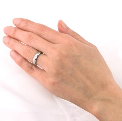 チタン 単品 リング 結婚指輪 ダイヤモンド付き プラチナイオンプレーティング加工商品 金属アレルギー対応