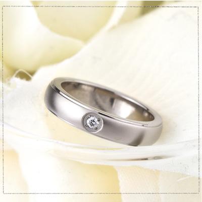 チタン ペアリング 結婚指輪 ダイヤモンド付き ペア プラチナイオンプレーティング加工商品 金属アレルギー対応