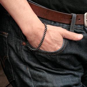 (即納可) チタンブレスレット [黒色] 喜平20cmチェーン5.7mm幅(DLC加工) 金属アレルギー対応 チタンチェーン チタンブレスレット チタンチェーン 通販 ギフト プレゼント 安心
