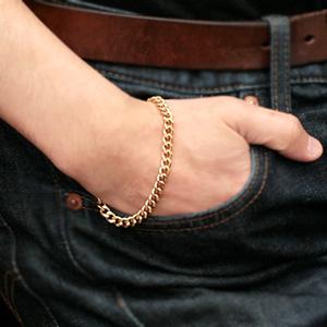 (即納可) チタンブレスレット [金色] 喜平20cmチェーン5.7mm幅(ゴールドイオンプレーティング加工)  金属アレルギー対応 チタンチェーン チタンブレスレット チタンチェーン 通販 ギフト プレゼント 安心