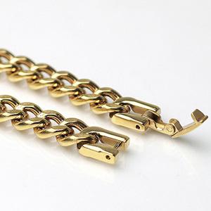 (即納可) チタンブレスレット [金色]喜平20cmチェーン7.0mm幅(ゴールドイオンプレーティング加工) 金属アレルギー対応 チタンチェーン チタンブレスレット チタンチェーン 通販 ギフト プレゼント 安心