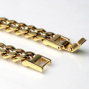 (即納可) チタンブレスレット [金色] 喜平20cmチェーン9.3mm幅(ゴールドイオンプレーティング加工) 金属アレルギー対応 チタンチェーン チタンブレスレット チタンチェーン 通販 ギフト プレゼント 安心