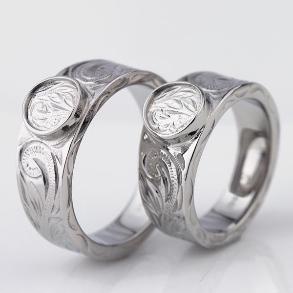 ハワイアンジュエリー ペアリング 【刻印可能/刻印無料】 ペアリング サージカルステンレス (316L) スクロール 波 Nalu ナル リング ステンレス 絆 ペア 指輪 (文字彫り) 金属アレルギーにも強い 名入れ プレゼント 贈り物