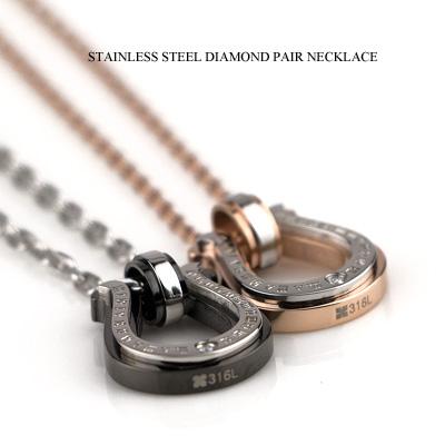 ペアネックレス ステンレス ダイヤモンド サージカル ステンレス スチール(316L) 馬蹄モチーフ ペアペンダント 誕生日 記念日 人気 プレゼント 贈り物 JBC