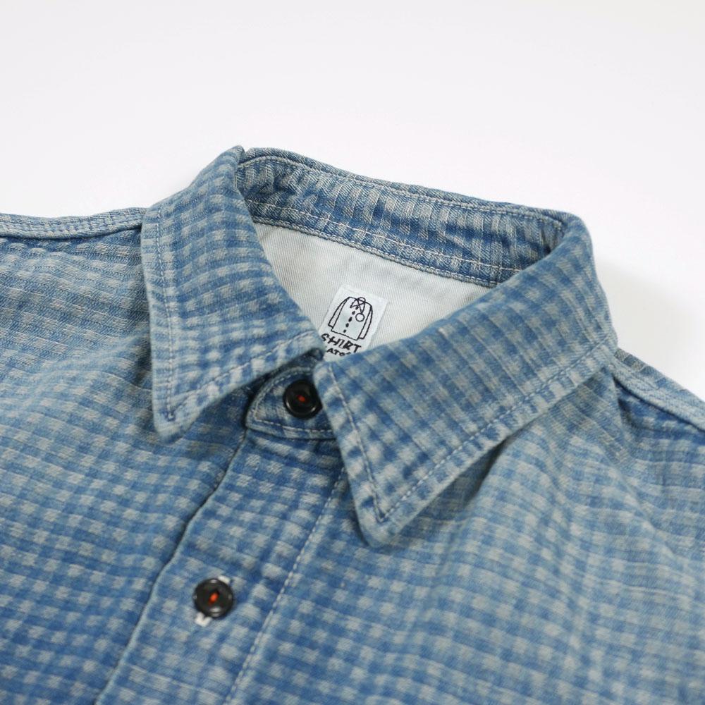 コットンリネンギンガムワークシャツ KATO`