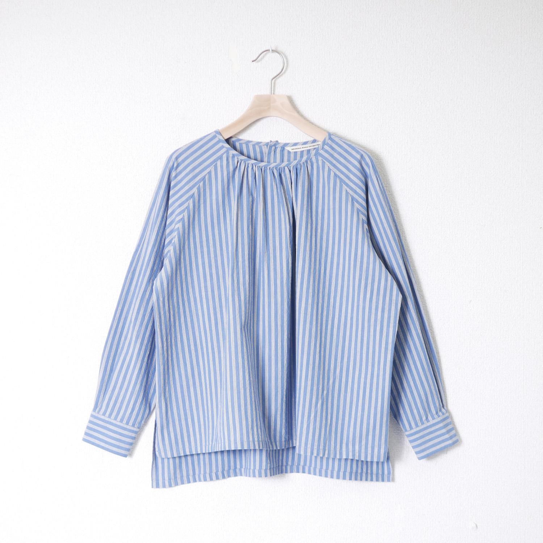 ストライプギャザーラグランP/Oシャツ GRANDMA MAMA DAUGHTER