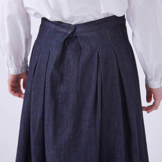 デニムプリーツロングスカート GRANDMA MAMA DAUGHTER