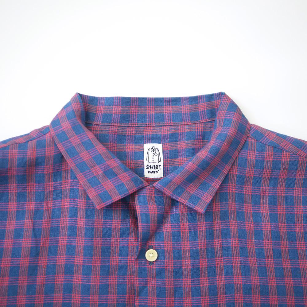 リネンチェックオープンカラーシャツ - KATO`