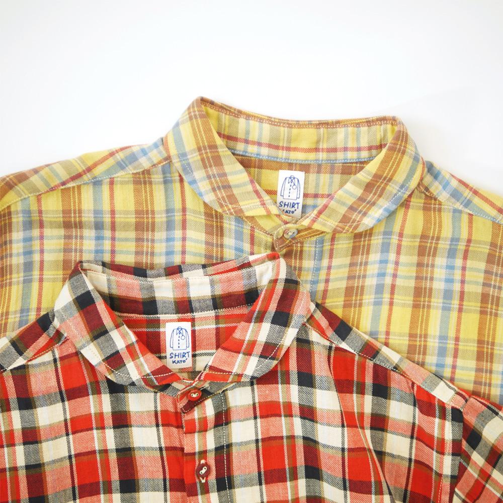 コットンリネンラウンドカラーS/Sシャツ - KATO`