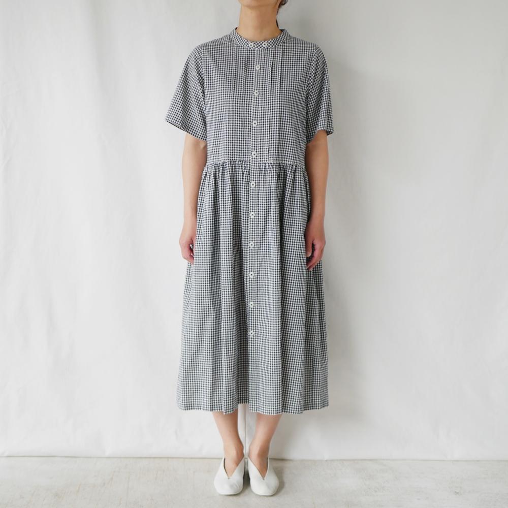 ギンガムダブルネック半袖ワンピース - GRANDMA MAMA DAUGHTER