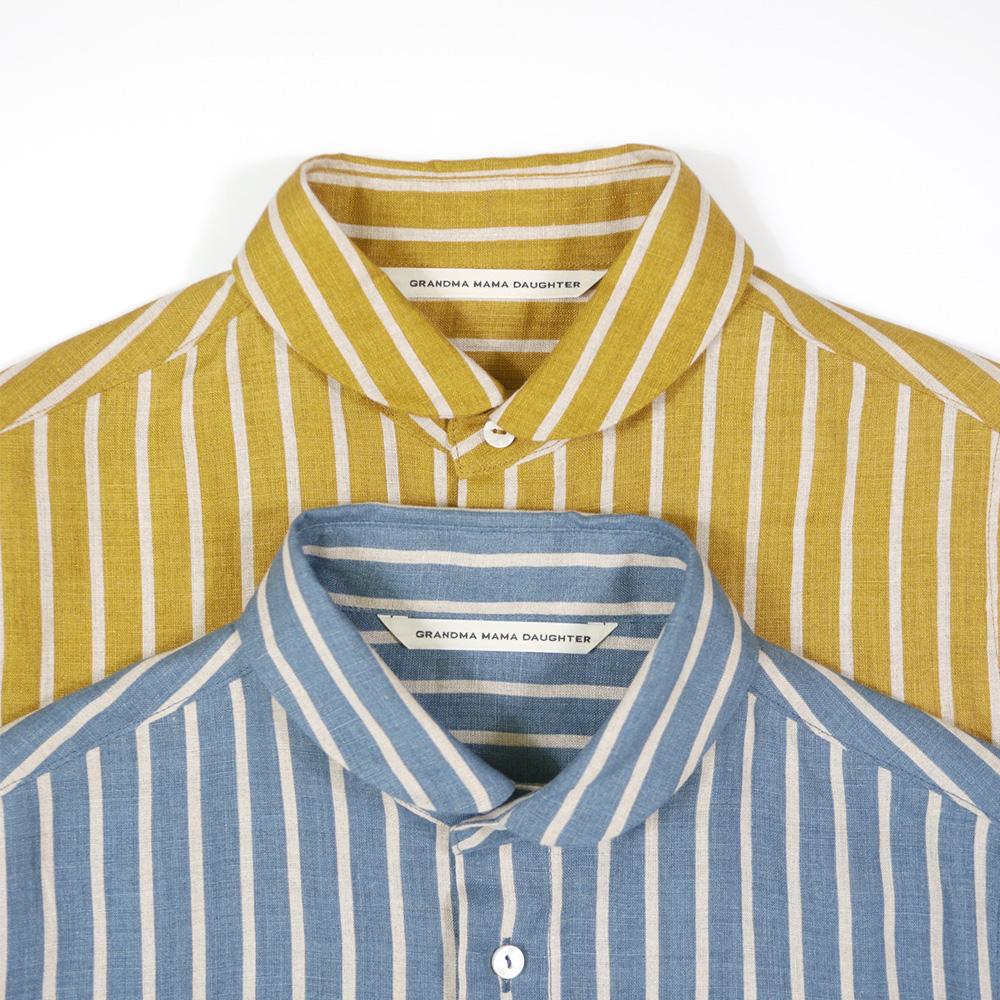 リネンストライプラウンドカラーシャツ - GRANDMA MAMA DAUGHTER