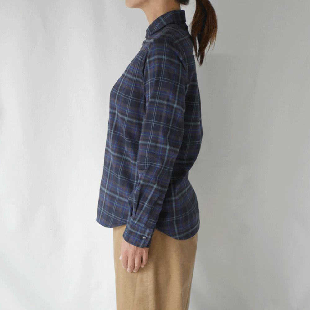 シャギーチェックラウンドカラーシャツ - GRANDMA MAMA DAUGHTER