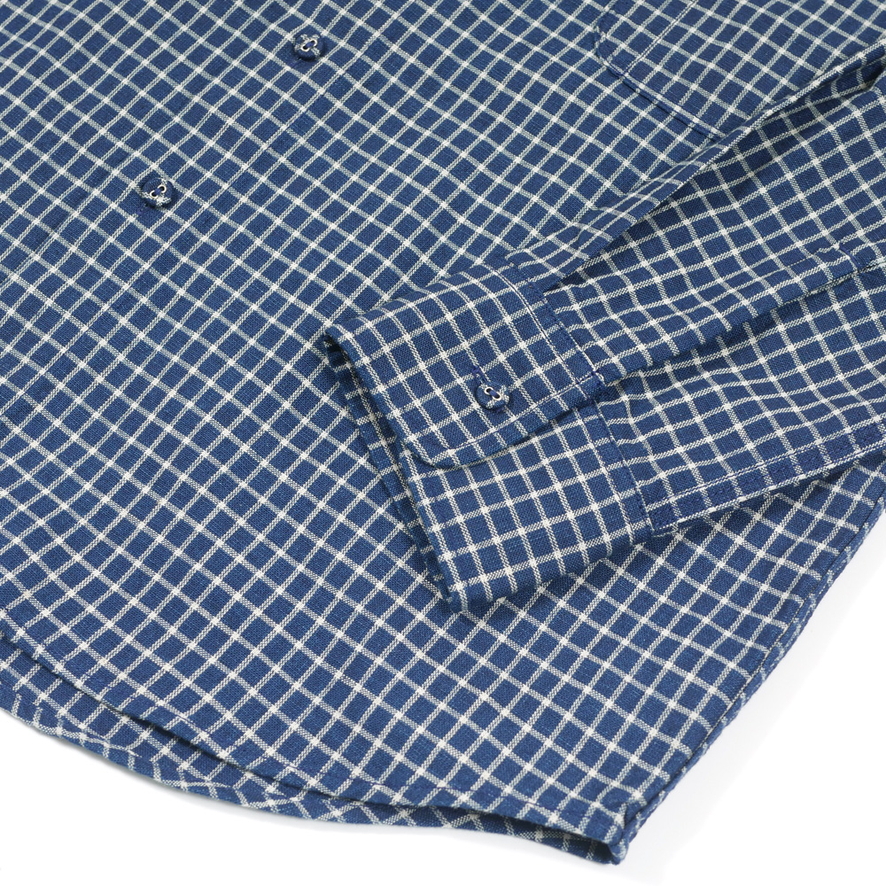 コットンリネンインディゴワークシャツ KATO`
