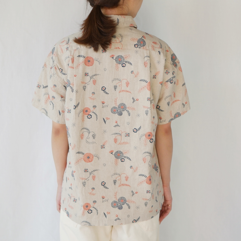 「MICHIKUSA」ラウンドカラー半袖シャツ GRANDMA MAMA DAUGHTER