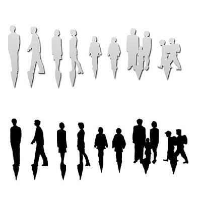 シルエット人形 アクリル白・黒 成人子ども 1/100(8種各1個)