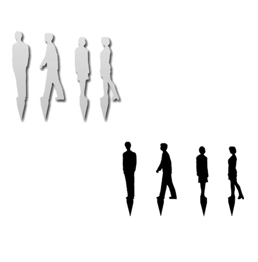 シルエット人形 アクリル白・黒 成人 1/100(4種各1個)