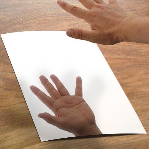 塩ビ板(A4サイズ)銀ミラー(片面使用)           210×297mm 厚み0.5mm (1枚袋入り)