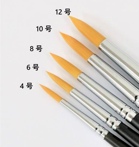 水彩筆 赤ナイロン 丸筆 8号