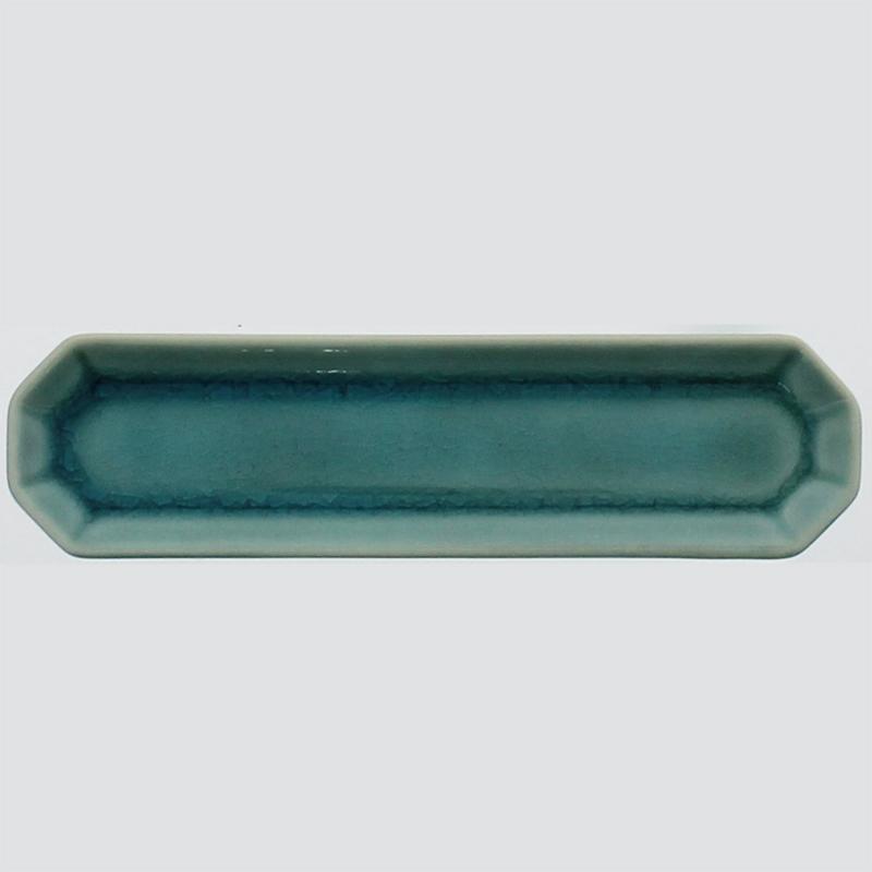 陶器八角香皿 トルコブルー (香立付)