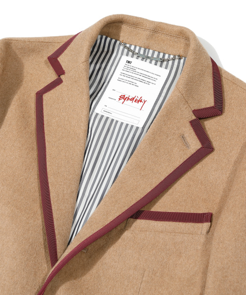 FLANNEL WOOL PIPING-TAILORED JACKET(TJKF2004)