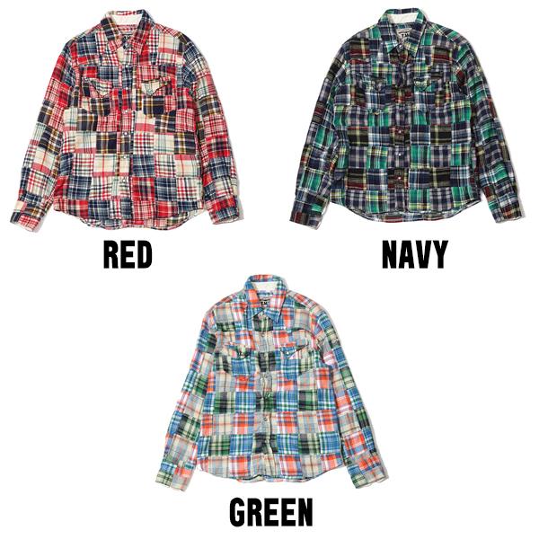 【馬志翔さん着用】VINTAGE NELCHECK PATCHWORK SHIRTS(TSHF1802)シャツ
