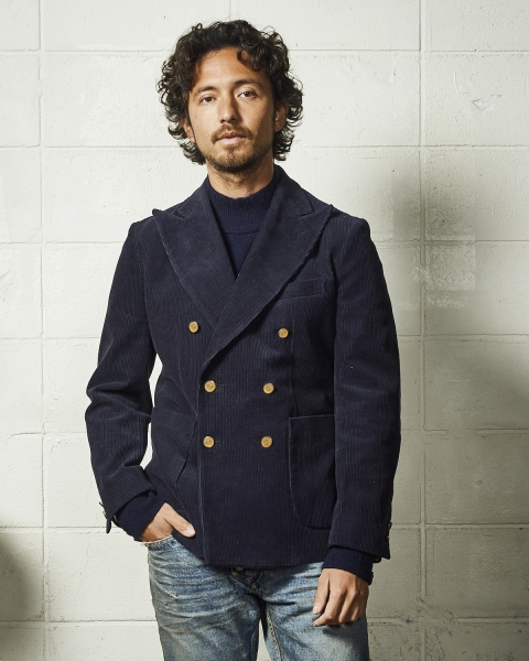 CORDUROY DOUBLE BREASTED-TAILORED JACKET (TJKF2003)