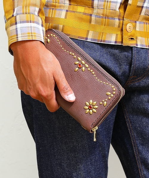STUDS LEATHER LONG WALLET(TACS2009)