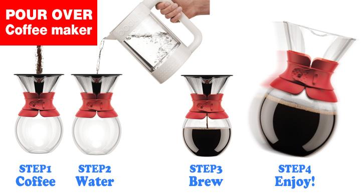 ボダム プアオーバードリップ式コーヒーメーカー1L 8杯用(レッド)