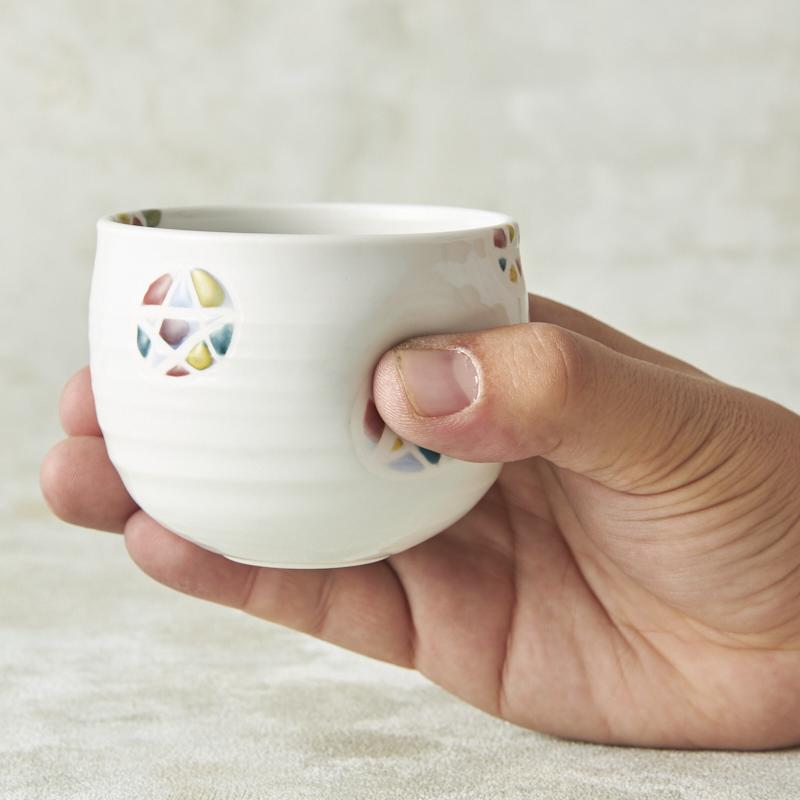 【砥部焼 龍泉窯】ミニえくぼカップ丸  てまり