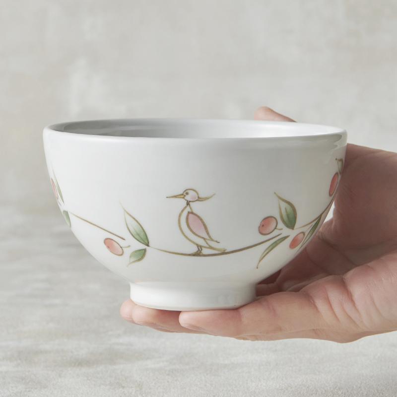 【砥部焼 大西陶芸】MARU-WAN(丸碗) シラサギ(赤)