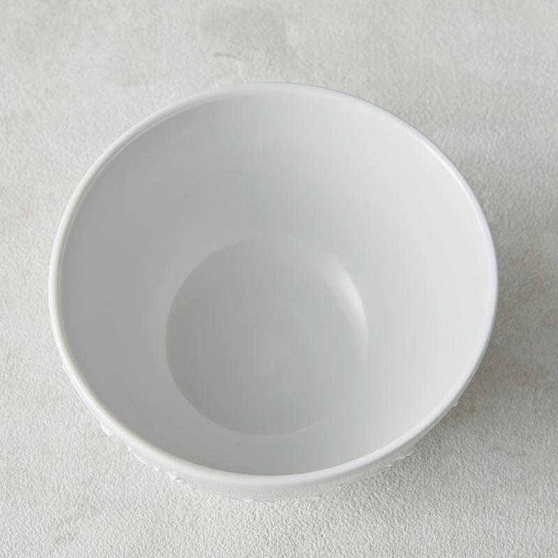 【砥部焼 大西陶芸】MARU-WAN(丸碗) イッチン草文(白)