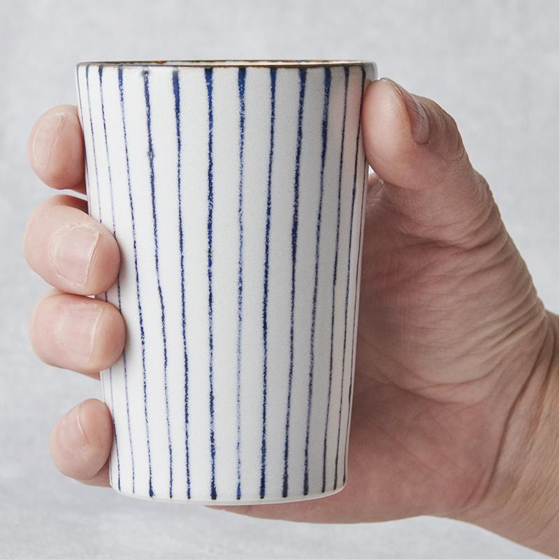 【砥部焼 STUDIO ECCO】ストライプカップ