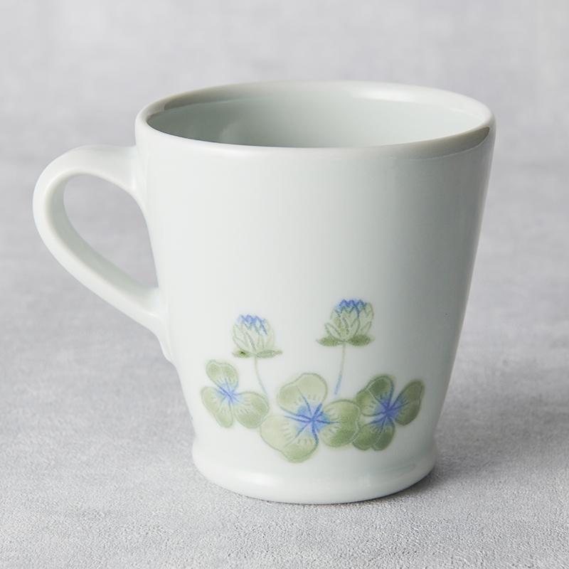 【砥部焼 梅乃瀬窯】スリムマグカップ/クローバー