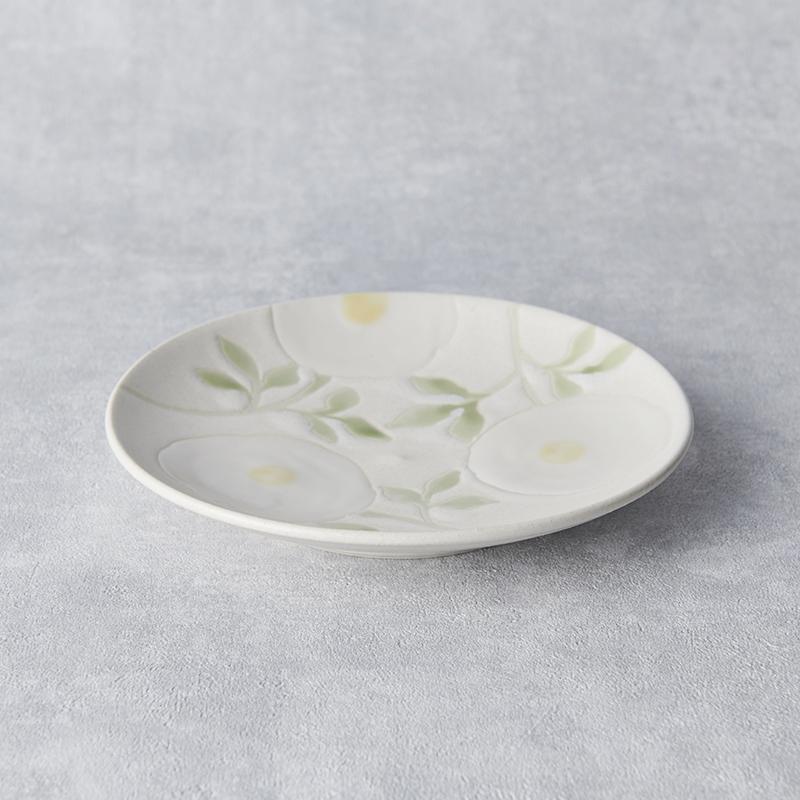 【atelierLUXE】カラフルフラワー5寸皿 白×白花