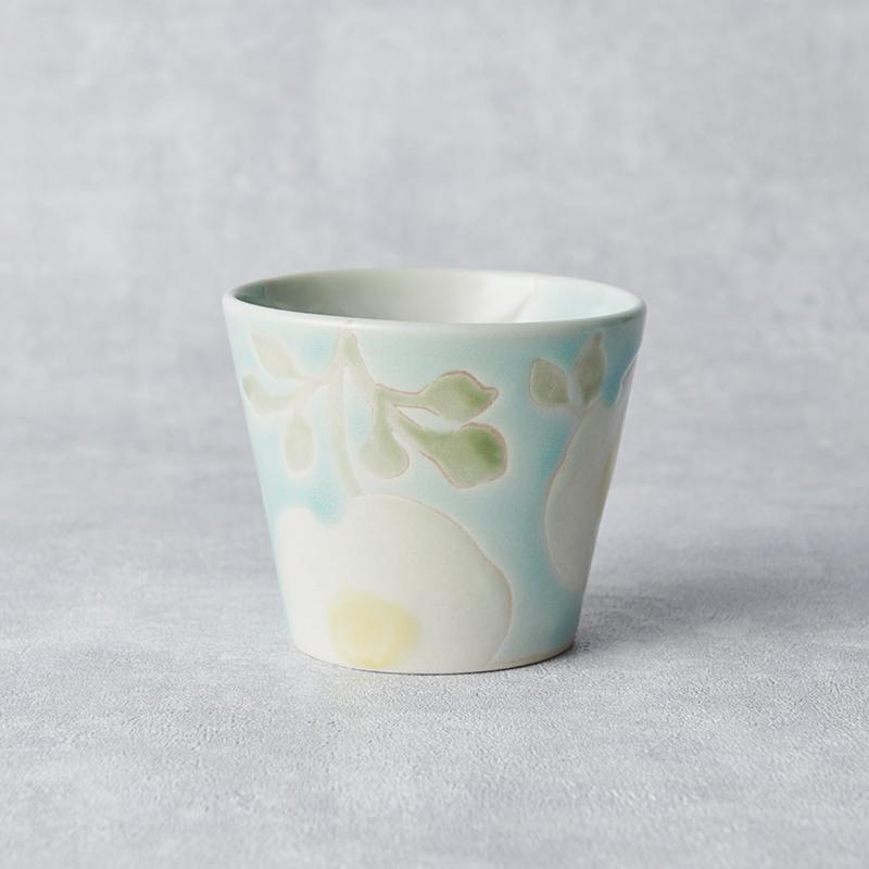 【atelierLUXE】カラフルフラワー そばちょこ 青×白花